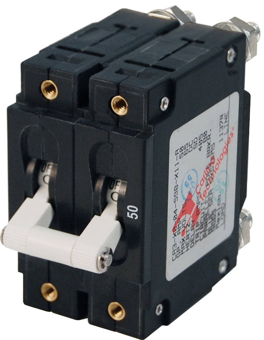 Blue Sea Systems C-Series White Toggle Double Pole 50A Circuit Breaker