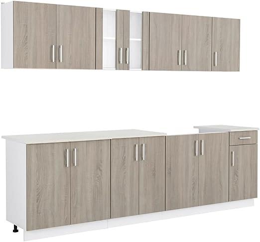 Oak Look Kitchen Cabinet With Sink Unit 8 Pcs Amazon Co Uk Kitchen Home
