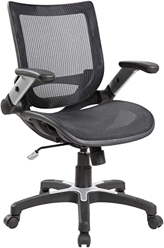 Anji Modern Furniture 8273BK Ergonomic Mid Back Mesh Office Flip-Up Arms Swivel Task Desk Computer Guest Reception Chairs Black , Large