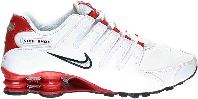 Nike Shox NZ Zapatillas Hombre, color blanco/metálico silver-university  Rojo 378341 – 110