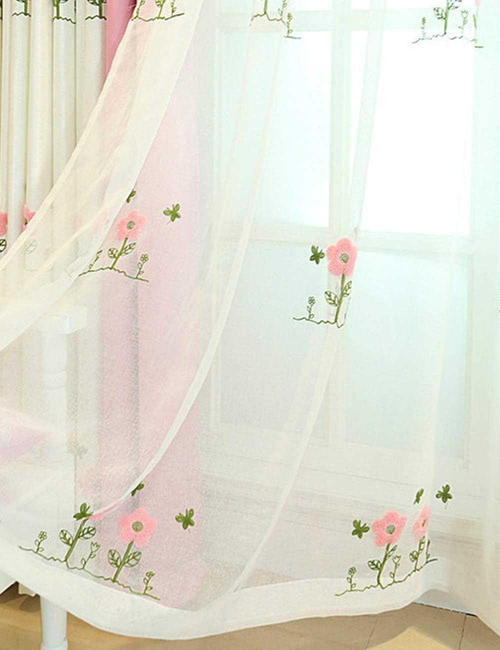 100 x 245 cm Lactraum Rideaux pour Chambre denfant Fille Princesse avec /œillets brod/és Roses Fleurs Papillon Opaque Beige Grund-Stoff
