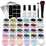 Temporary Tattoo Kit–Glitter Tattoo Make Up Body Glitter Art Design Child Teenager Adult, with 24Colours Glitter by 6Leuchtstoffe, 118Unique Leaf Themed Tattoo Stencil