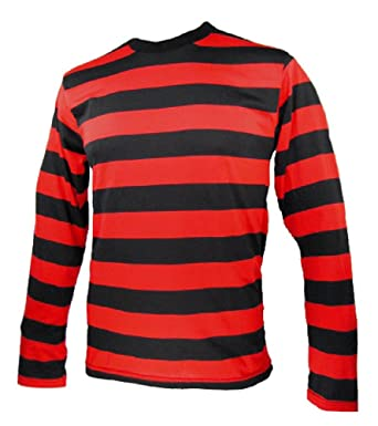 Long Sleeve Striped Men's Shirt Black and Red | Amazon.com