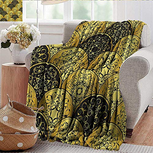 Xaviera Doherty Couch Blanket Mandala,Scale Style Circles Warm & Hypoallergenic Washable Couch/Bed Throws, Microfiber 60