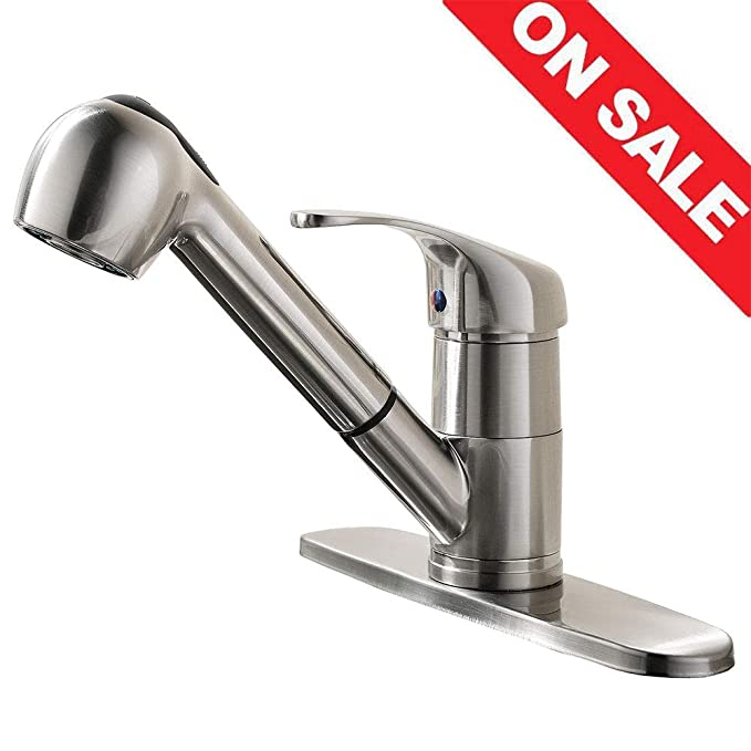 Best Pull out Kitchen Faucet: KINGO HOME Modern Pull Out Sprayer Bar Kitchen Faucet