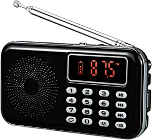 YMDJL Portable Mini AM FM Radio Speaker MP3 Player with AUX Input USB TF Card Slot,Transistor Pocket Radios with Ultra-Long Antenna (Black)