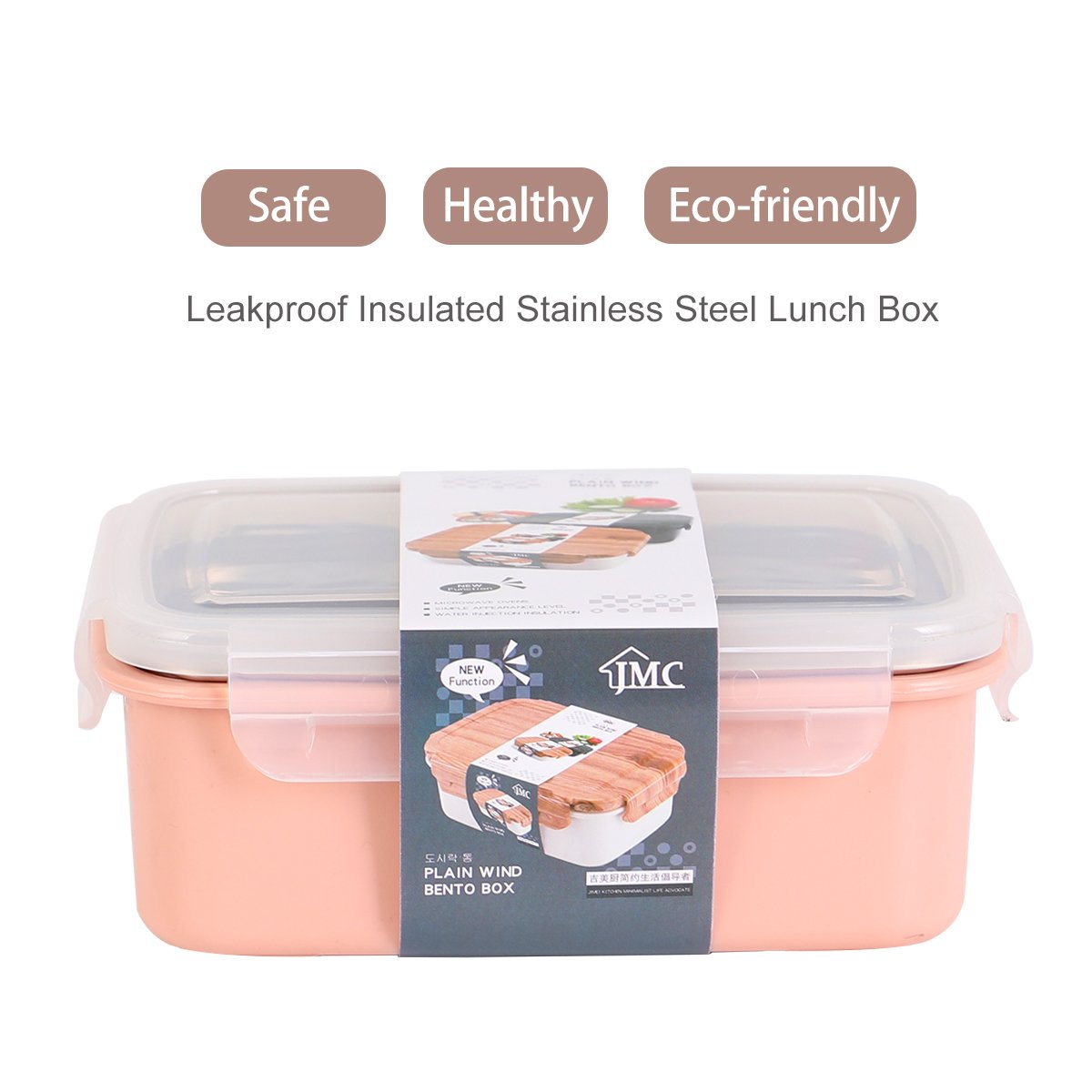 Bento Box Stainless Steel Lunch Box with Adjustable 2 Compartments Insulated Food Container for Kids Adults Work School Office with Wood Spoon and Chopsticks,pink