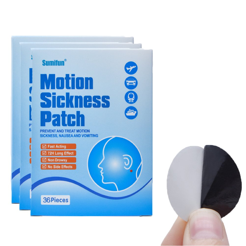 Sumifun Herbal Motion Sickness Patch, Cruise Patch Motion Sickness Behind Ear 108 count/ 3 box, Car/Sea/Air Travel