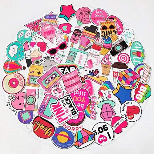 Girls Stickers 60pcs - Cute Pink Cool Stickers for Personalize Water Bottle Car Helmet Skateboard Luggage Bike Bumper Notebook Laptop Waterproof Graffiti Decals, Best Gift for Kids (Pink)
