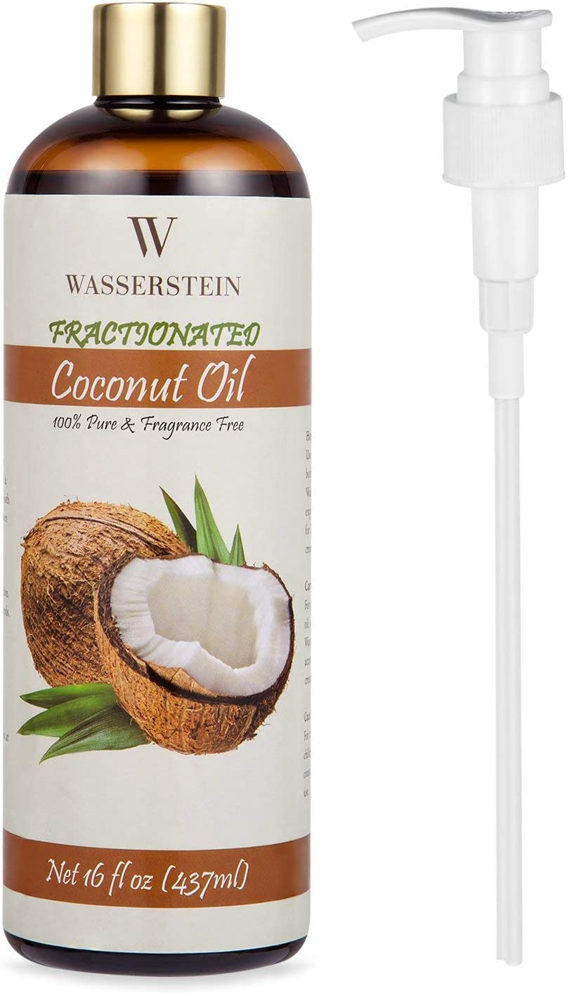 Aceite esencial de coco fraccionado con dispensador – 100% puro y natural. Aceite para aromaterapia y aceite para masaje de Wasserstein (16oz/473ml, coco)