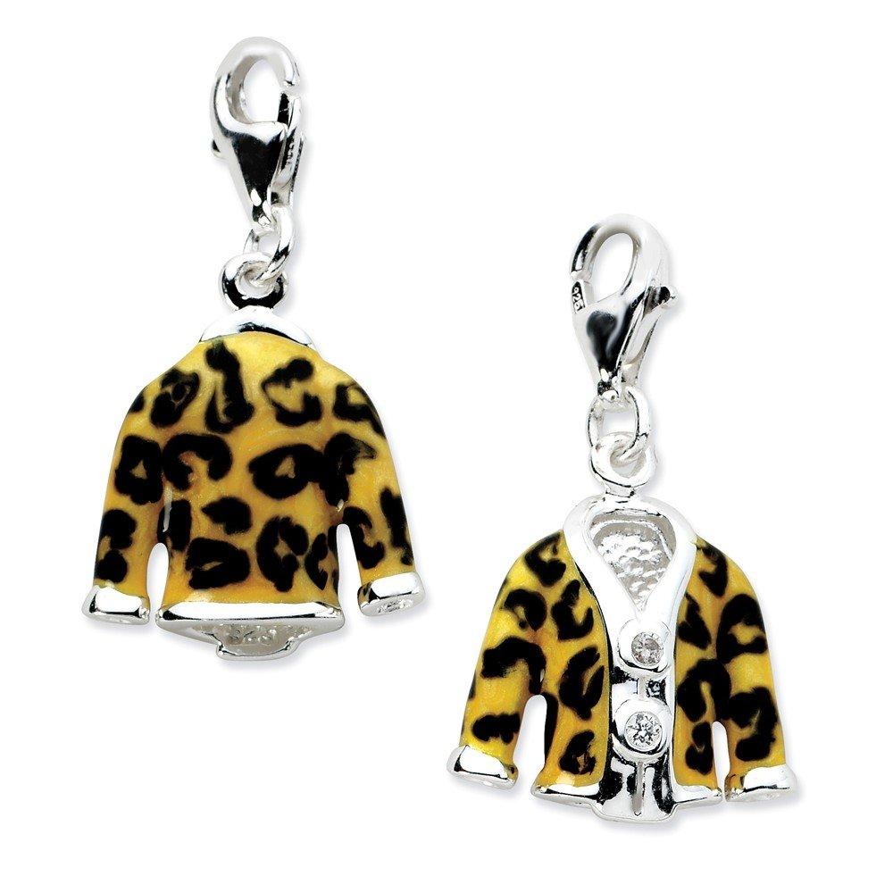 Roy Rose Jewelry Sterling Silver Amore la Vita Click-on CZ Enamel Leopard Jacket Charm