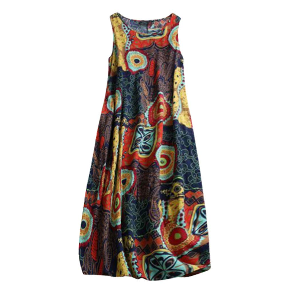 Jialili Womens Plus Size Summer Sleeveless Floral Print Dresses Daily O Neck Loose Linen Long Maxi Dress Beach