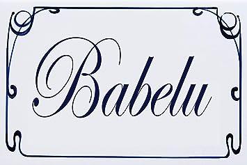Elija su Texto Nombre de Villa Personalizado 20x30x0,8cm AzulDecor35 Placa de casa de Barro con Apellido