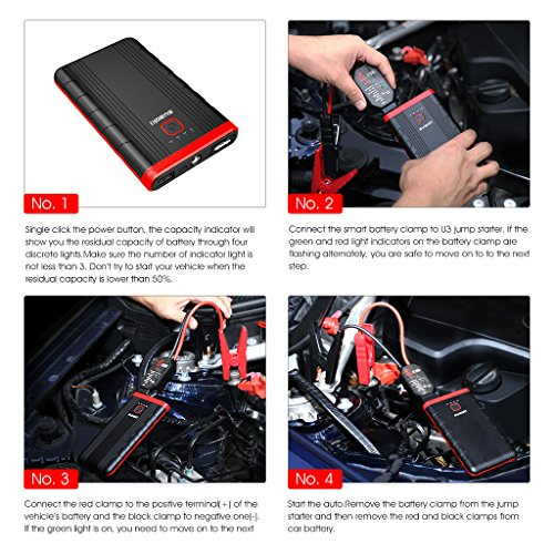 Suaoki U3 400A Peak Jump Starter Lithium ion Phone Charger and Battery Booster Power Pack for Automotive Truck Motorcycle Boat by SUAOKI (Image #7)