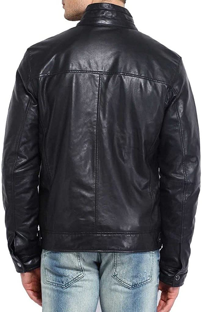 Lambskin Leather Jacket Genuine Leather Biker Coat KL569