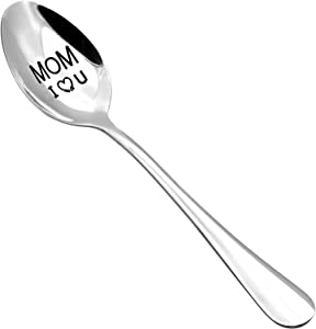 Mom Spoon Mother's Day Gifts from Daughter Son - Mom I Love You 304 Stainless Steel Soup Spoon,Dinner Spoon Tea Spoon,Coffee Spoon,Ice Cream Spoon (A Mom I Love U)
