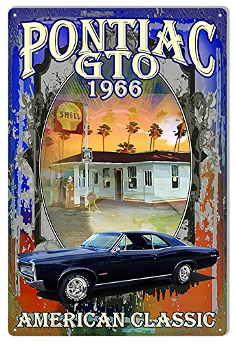 Reproduction Pontiac GTO 1966 Hot Rod Car by Phil Hamilton Metal Sign 12