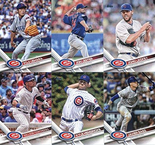 2017 Topps Series 2 Chicago Cubs Team Set of 10 Cards: Jon Lester(#360), John Lackey(#362), Koji Uehara(#393), Javier Baez(#442), Kyle Hendricks(#468), Rob Zastryzny(#478), Anthony Rizzo(#500), Willson Contreras(#502), Jake Arrieta(#528), Jon Jay(#695)
