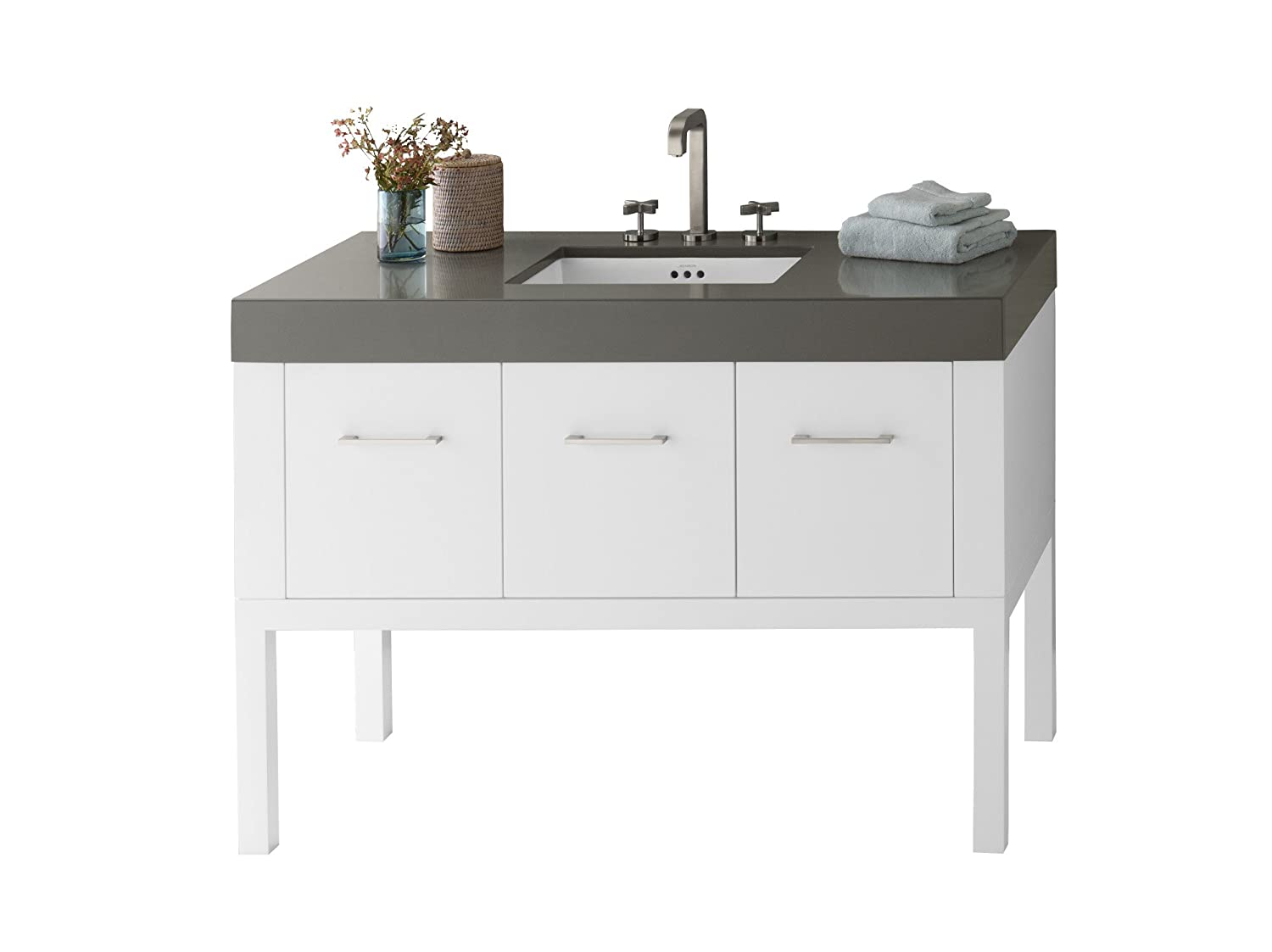 50%OFF RONBOW Calabria 49 inch Bathroom Vanity Set in White, Bathroom Vanity with Top and Backsplash in Gray with 8 inch Widespread Faucet Hole, White Ceramic Vessel Sink 036848-W01_Kit_1