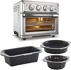 Cuisinart TOA-60 Air Fryer Toaster Oven (Silver) Bundle with 3-Piece Baking Set (Fluted Cake Bundt, Round Cake Pan and Loaf Pan) (4 Items)