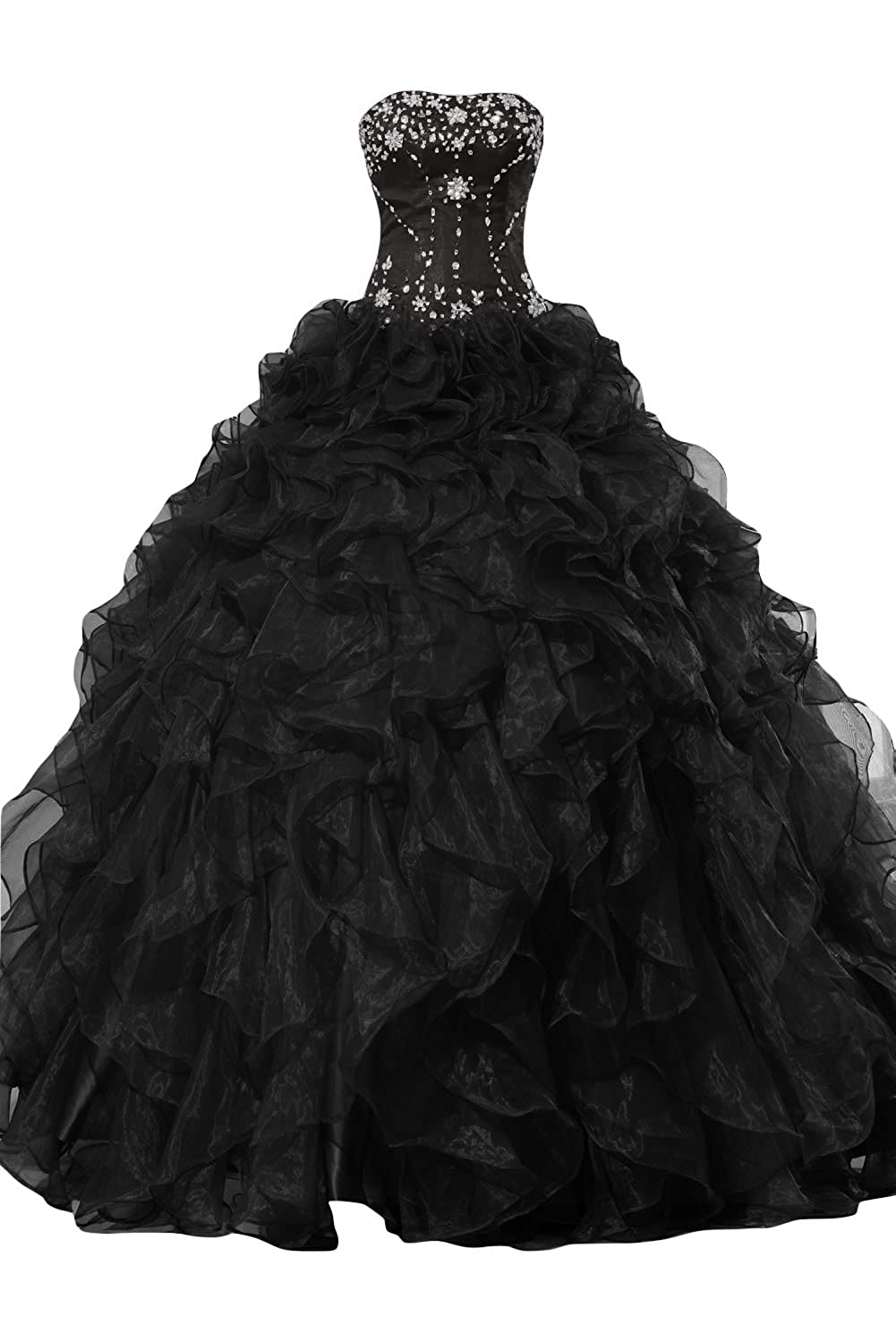 Sunvary Organza Ball Gown Skirt Prom Gowns Quinceanera Dresses ...