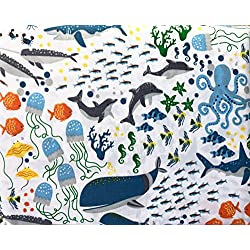 Boat House Bedding Kids 3 Piece Twin Size Single Bed Sheet Set Colorful Sea Life Octopus Dolphins Sharks Fish