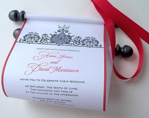Amazon Com Traditional Black Tie Wedding Invitation Scrolls With