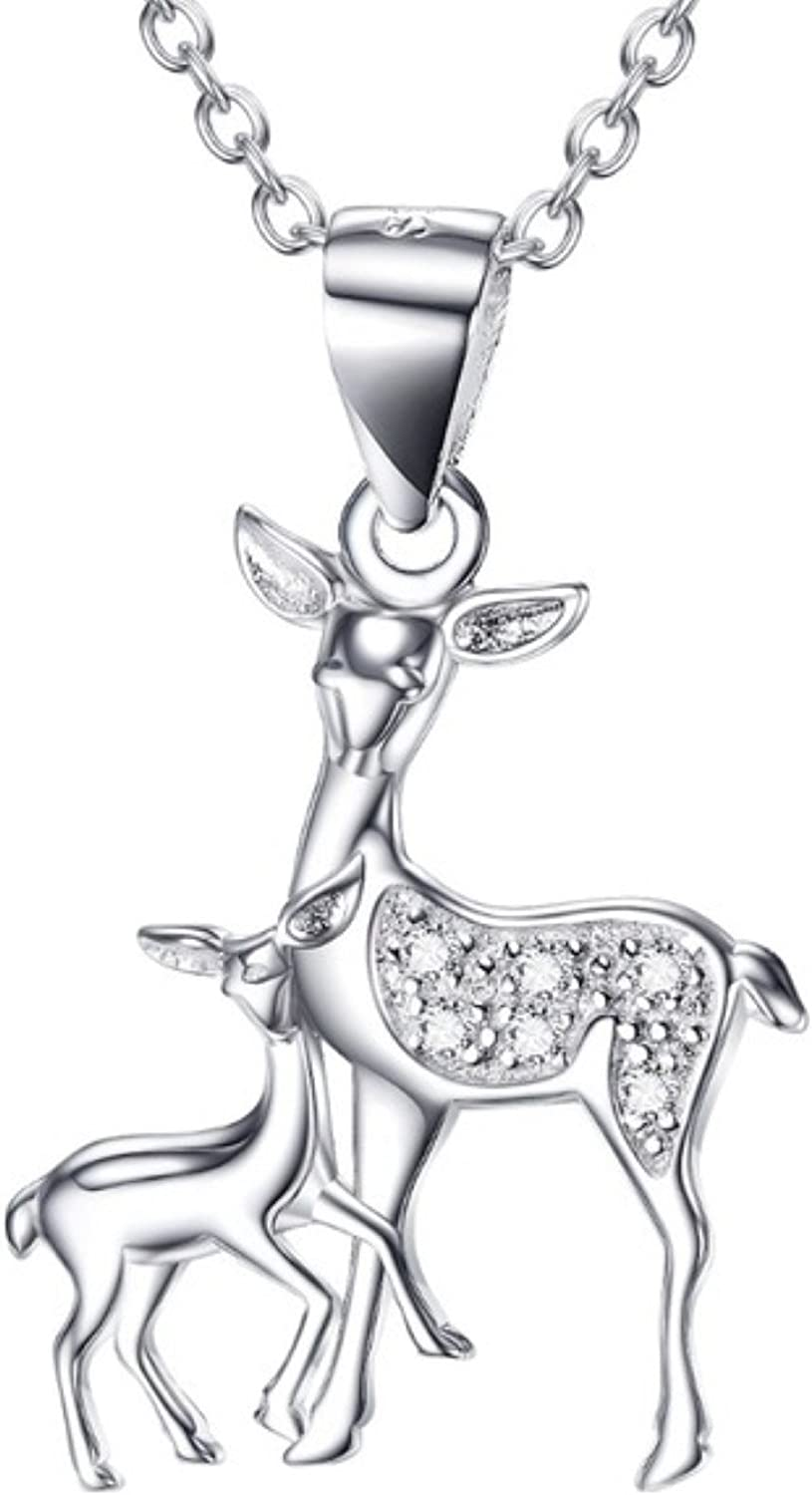 925 Sterling Silver Crystal Antler Pendant Necklace Women Christmas Jewellery