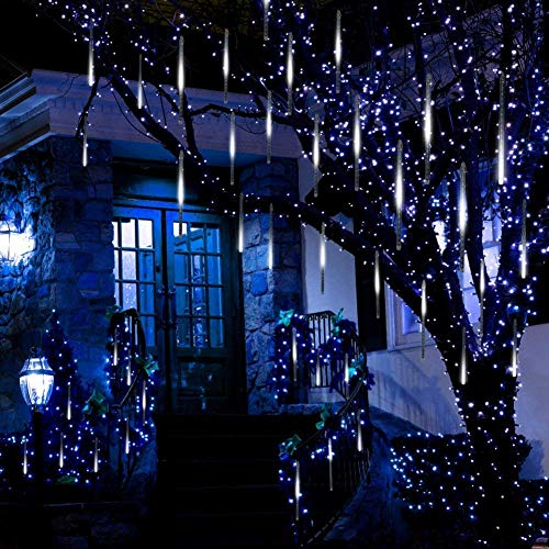 Halloween Icicle Lights Target (Invin LED Meteor Shower Lights, Falling Rain Lights, Christmas Lights 30cm 8 Tube 144 LEDs, Falling Rain Drop Icicle String Lights for Christmas Tree Halloween Decoration Holiday Party Wedding)