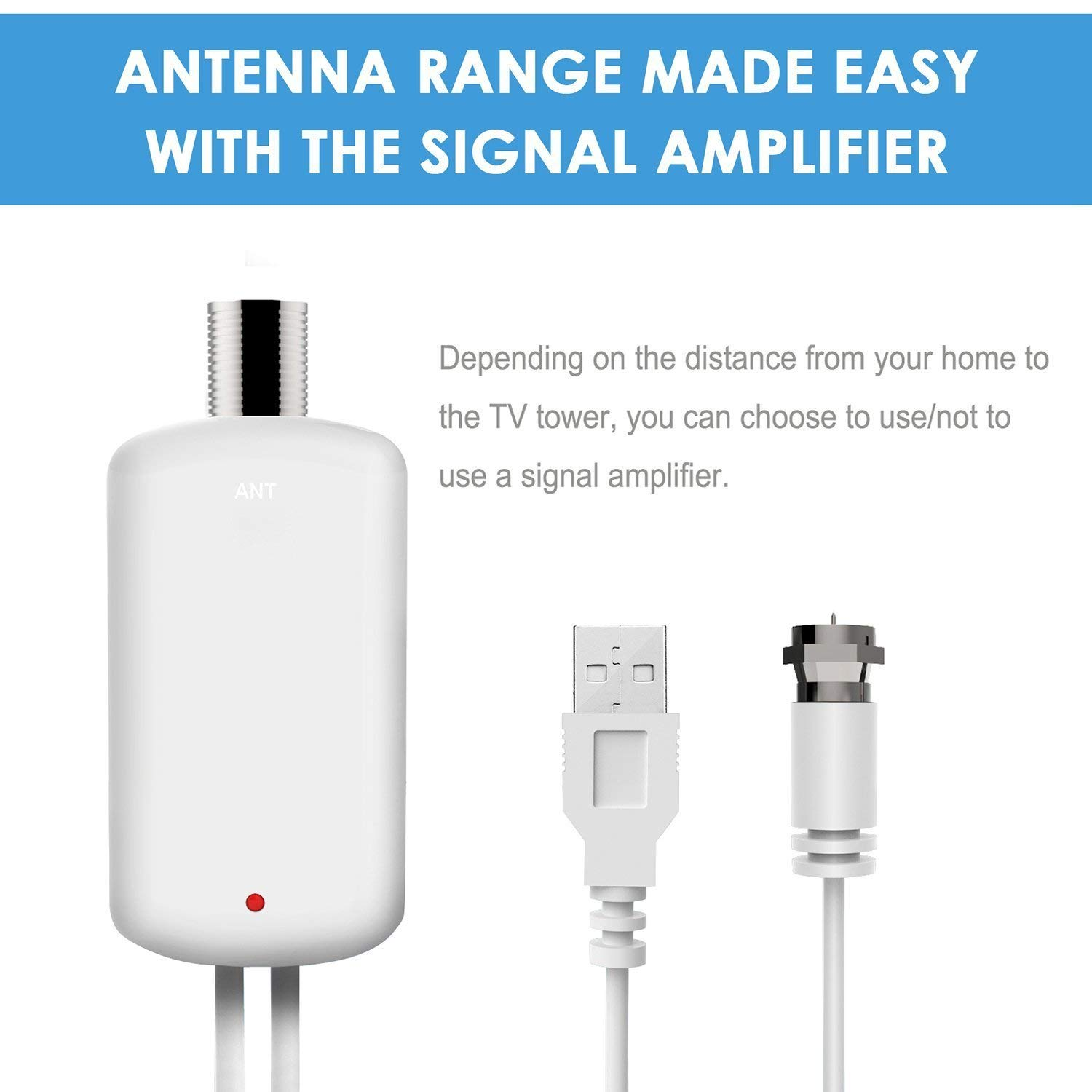 60 Miles Range with Amplified Signal Booster Support 4K 1080P Freeview Channels HDTV Antenna Indoor Digital TV Antenna 2020 Latest 13.2Ft Coaxial Cable and Power Adapter