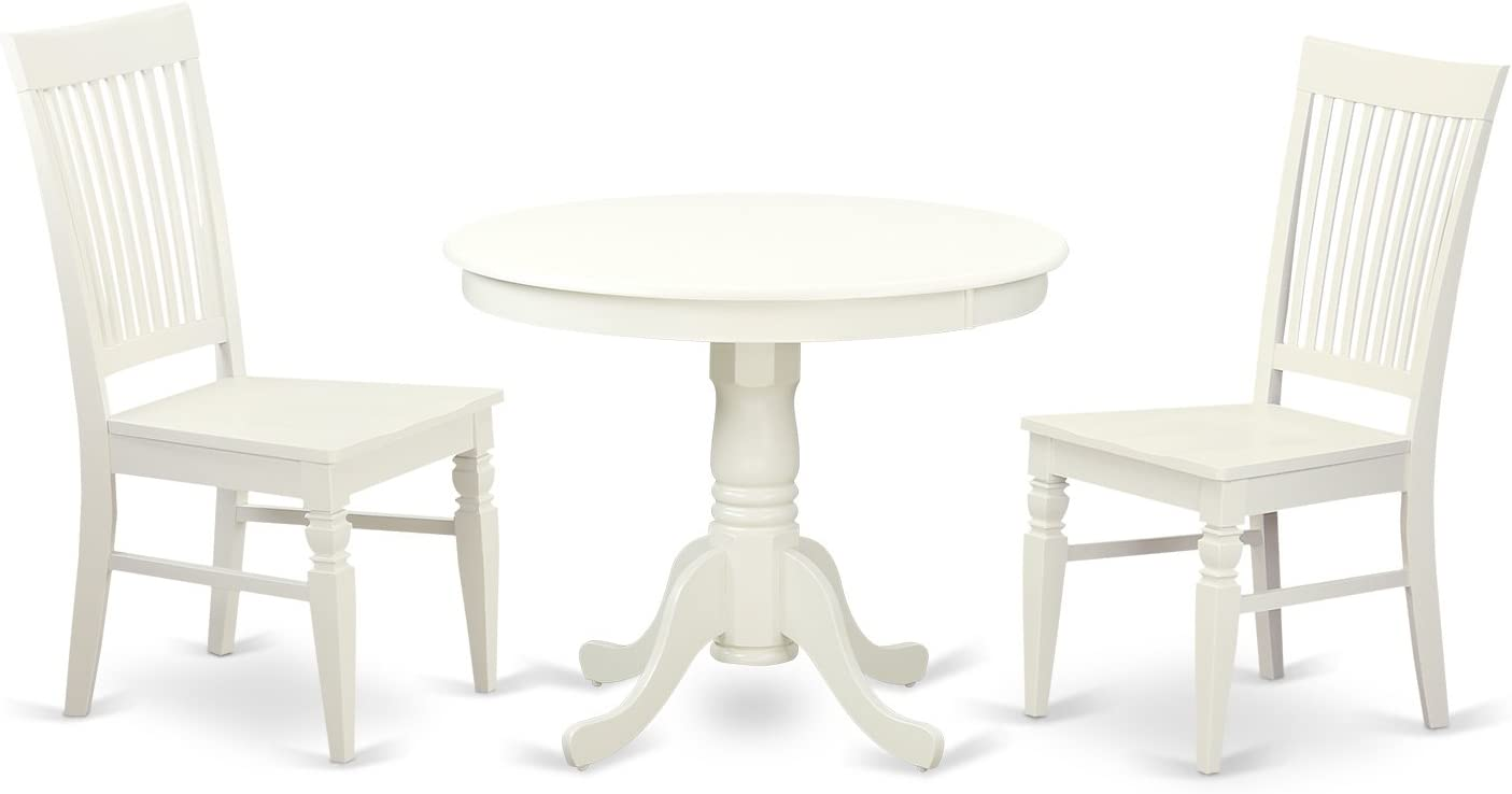 East West Furniture wooden dining table set 2 Amazing wood chairs - A Beautiful kitchen table- Linen White Color Wooden Seat Linen White round kitchen table