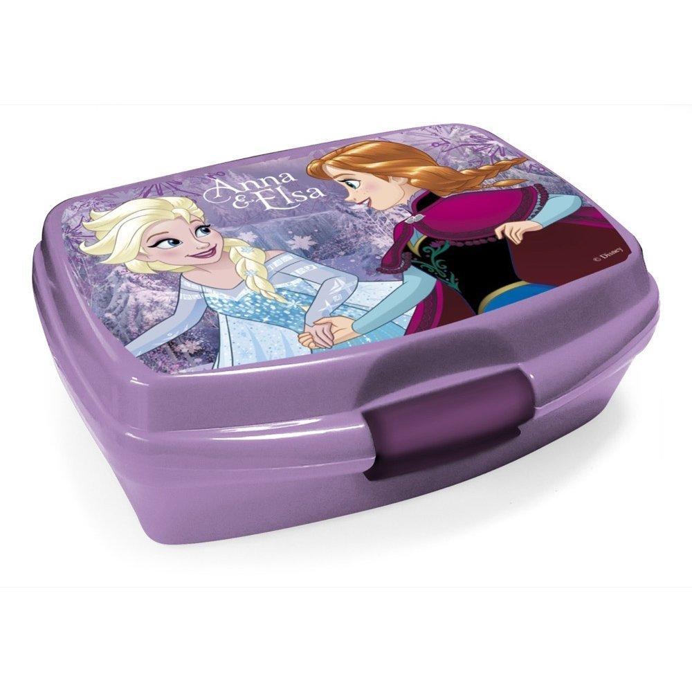 Elsa und Anna Brotbox Violett Lunchbox Frozen Brotzeitdose mit Motiven der Eiskönigin Jausen Box für Mädchen Farbe Lila