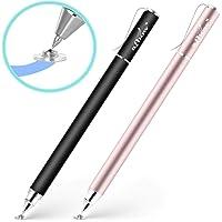 aibow タッチペン スタイラスペン 高感度タイプ [ iPad iPhone/Android スマホ タブレット ]対応 (パズドラ お絵描き メモ で使える)軽量 キャップ式 2本+交換用ペン先2個 (ブラック/ローズゴールド)