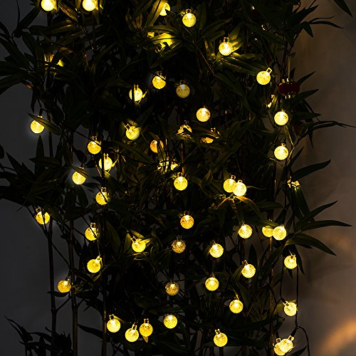 {Longer and Brighter 29ft 50LED} Hallomall™ Outdoor Solar String Lights Fairy Lights, Crystal Ball Solar Powered Outdoor Decorations Ambiance Lighting For for Garden Fence Path Landscape Christmas (warm white)