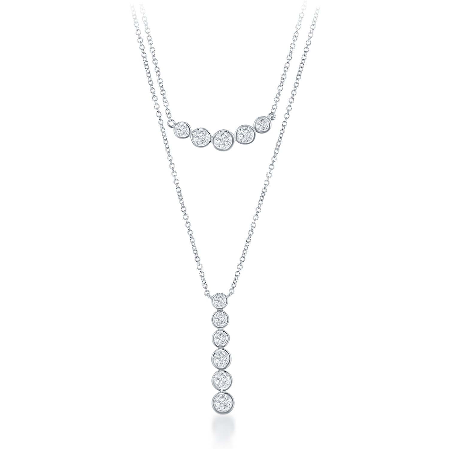 """Sterling Silver 16"""" Double-Strand Bezel-set CZ Curved Double Bar Necklace"""