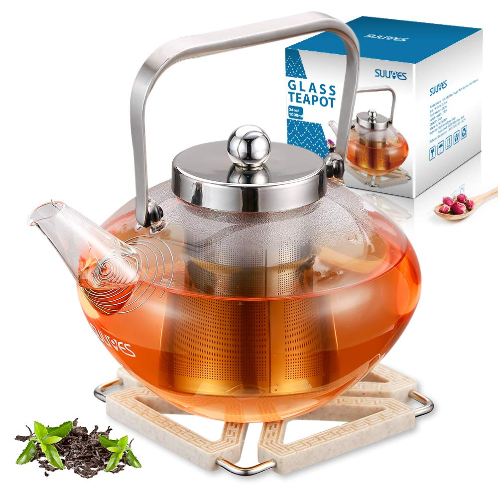 SULIVES Glass Teapot with Stainless Steel Infuser & Lid, Borosilicate Glass Flower Tea Kettle Stovetop Safe, Blooming & Loose Leaf Teapots, 34 oz / 1000 ml