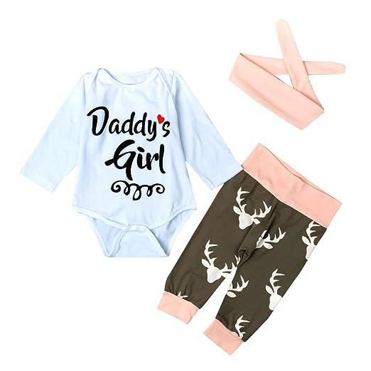 594a7c525 Amazon.com  3Pcs Cotton Newborn Baby Girls Tops + Deer Pants + ...