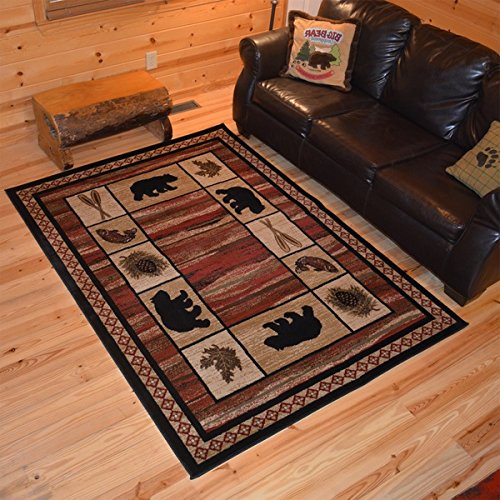 Furniture Bear Black Rustic (OS Beautiful Wildlife Nature Bear Rustic Southwestern Red Black Area Rug (2'2 x 3'3) Stain Resistant Perfect For Lodge Cabin Camping Style Living Area)