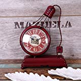 Bwlzsp 1 PCS American countryside creative handcraft iron art model ornament bar clock electric light bulb three color entry LU710129 (Color : Red)