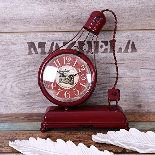 Bwlzsp 1 PCS American countryside creative handcraft iron art model ornament bar clock electric light bulb three color entry LU710129 (Color : Red) by Bwlzsp