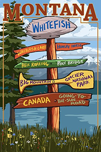 Whitefish, Montana - Sign Destinations Collectible Art Print, Wall Decor Travel Poster