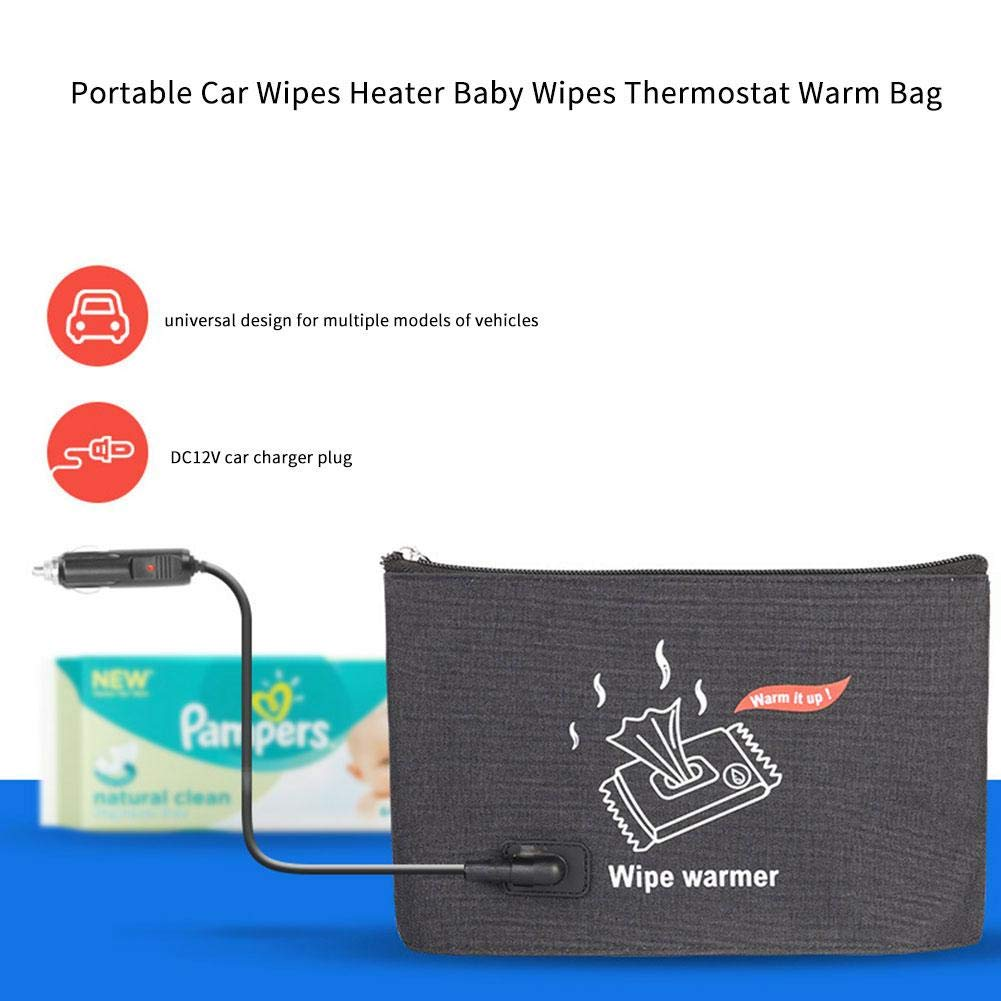 settlede 12V/1.6A Portable Car Wipes Heater Baby Wipes Thermostat Warm BagWipes Warmer Dispenser Adorable by settlede
