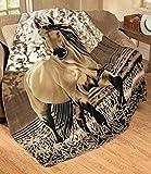 "Elegant Western Gallopping Horse Soft Fleece Throw Blanket - Polyester 63""x73"""