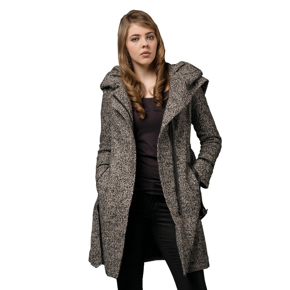 Zareen Women's Wool Coat with Oversized Hood / Tweed (X-Large) by Zareen by BC24