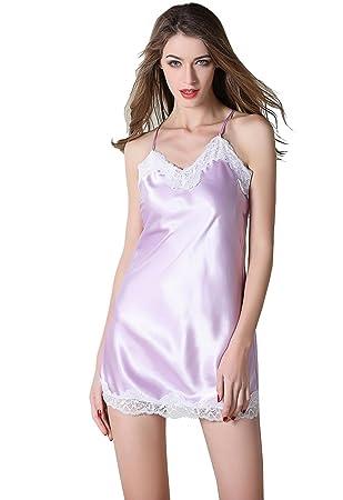 Pijamas de mujer Ropa de noche de encaje de satén de seda Camisón con cuello en