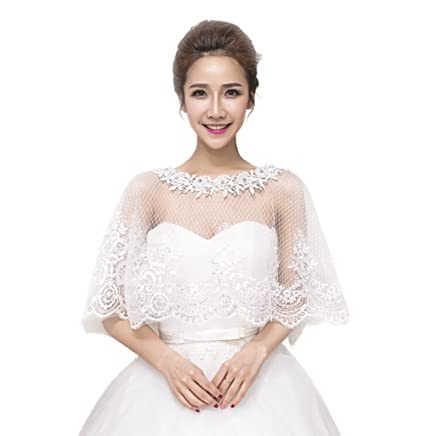 0ce68e872964a0 JUNGEN Lace Shawl Shrug Bridal Bolero Jackets for Women Weddiing Dress  Decoration Ivory  Amazon.co.uk  Kitchen   Home