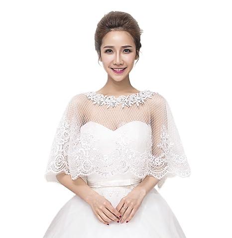 Venta caliente genuino replicas oferta Bolero de mujer para vestido de novia de color marfil JUNGEN, crema, Style 2