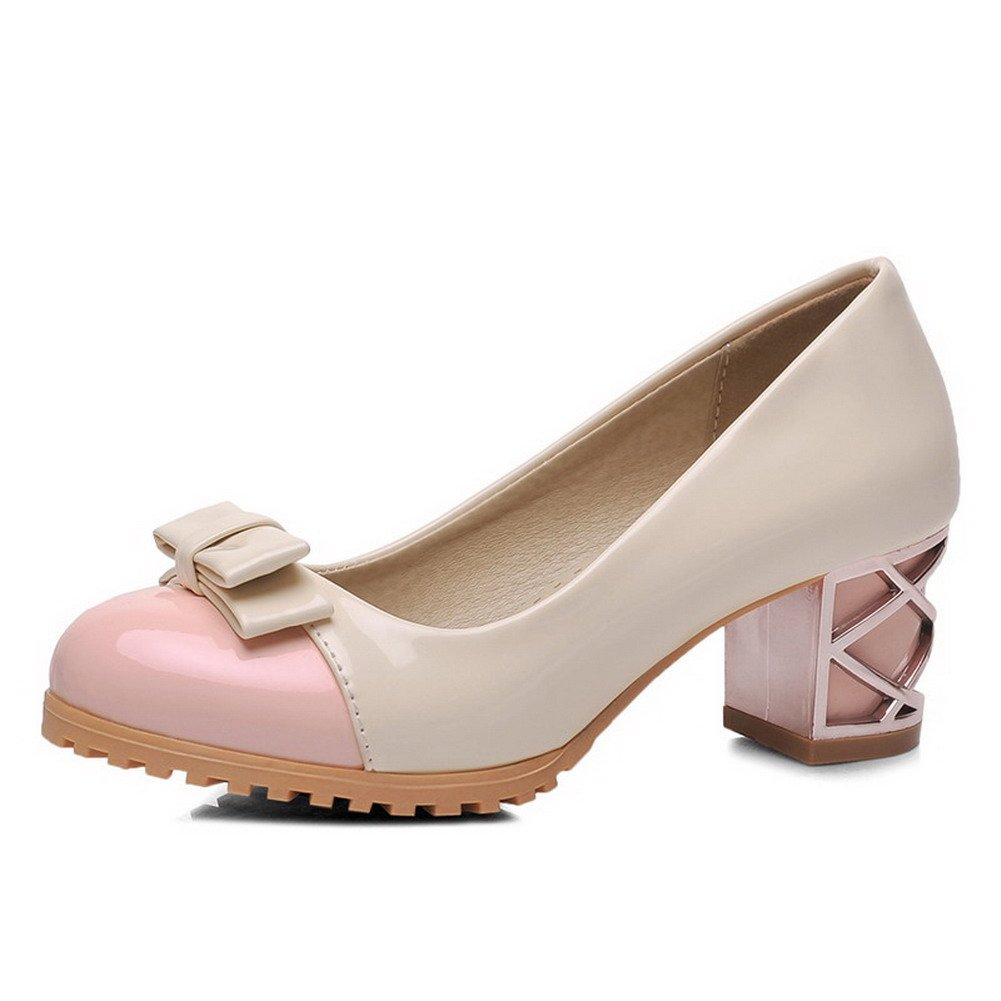 WeiPoot Women's Pull On Round Closed Toe Kitten Heels Pu Assorted Color Pumps-Shoes, Pink, 33