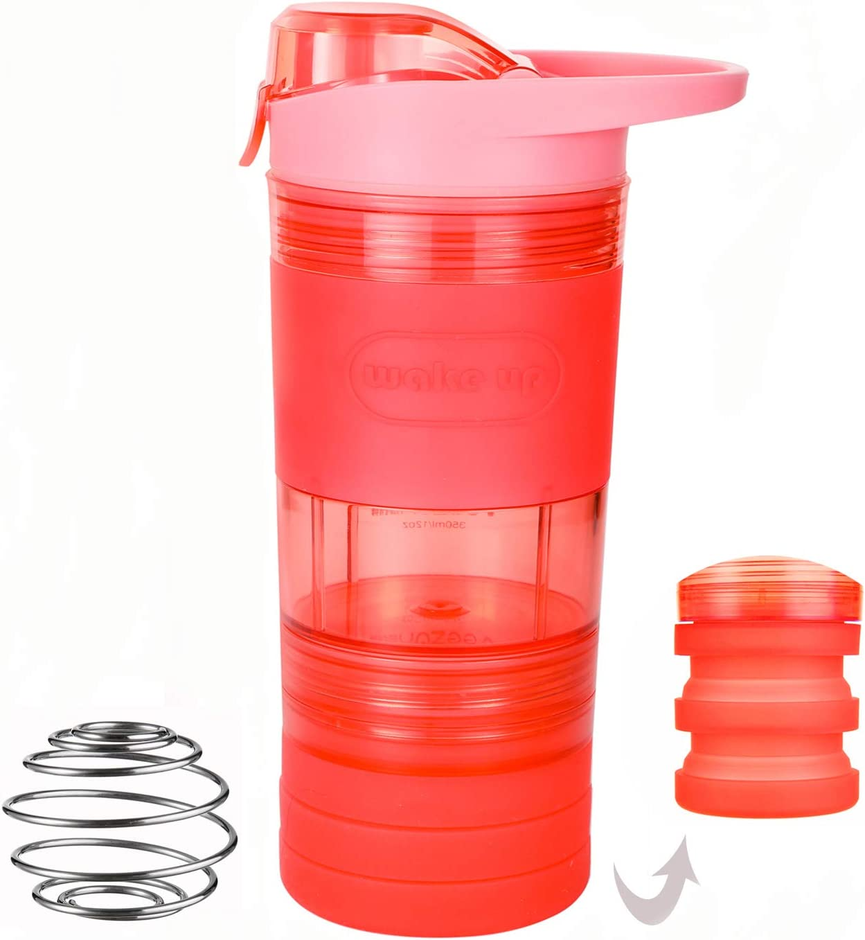 WATLIFE Shaker Bottle Protein Mixer 12oz with Mixer Ball Collapsible Rubber Storage Box Blender BPA Free Leakproof for Workout Gym Office (Pink)