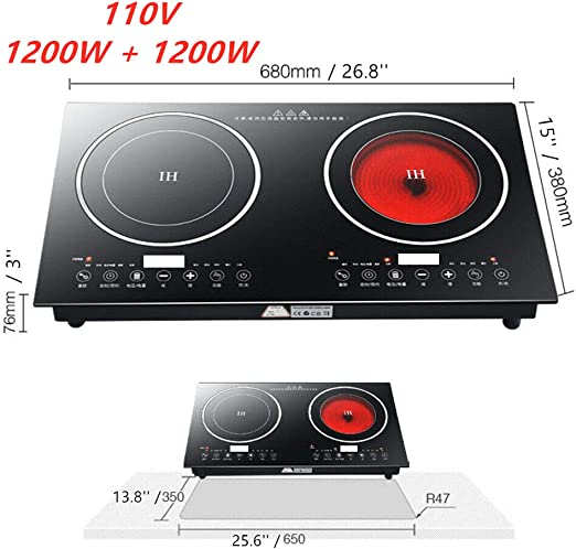 Electric Portable Cooktop Double Stove Hot Plate Dual Burner Top Compact US NEW